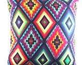 EXOTIC KISS Lge cushion cover, neon aztec bright colourful throw pillow 55cm x 55cm or 22' x 22'