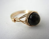 Golden Obsidian Ring, 14kt Gold-Filled Jewelry, Bridesmaid Gift, Gold Wire Wrapped Ring, Obsidian Jewelry