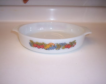 Vintage Anchor Hocking Fire King cake pan Nature's Bounty cake dish retro fruit print