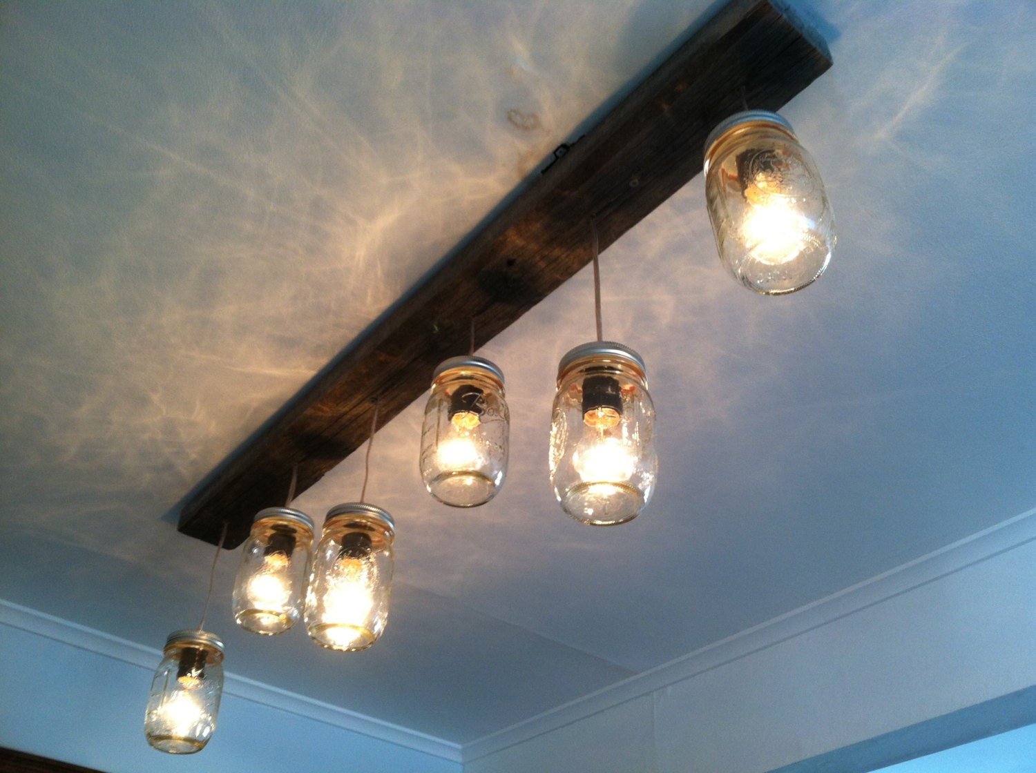 mason jar and wood track lighting by lengaresdesign on etsy