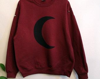 Maroon crescent moon studded sweatshirt