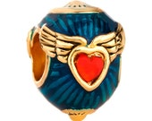Dark Blue Gold Winged Red Heart Enamel Spacer Bead with Clear Crystals For European Style Charm Bracelet