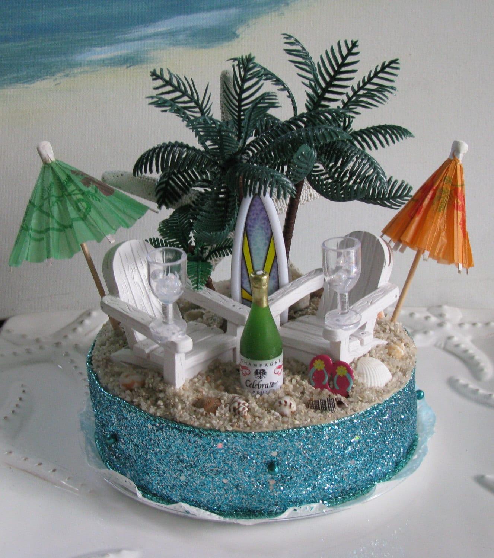 Adirondack Chairs Beach Wedding Cake Topper Palm Trees Beach
