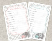 Custom Wishes For Baby PDF Advice Cards  - A Printable Party Game