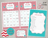 INSTANT DOWNLOAD Baby Shower Games - Red and Aqua