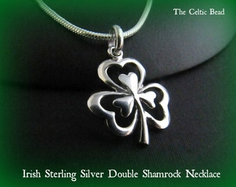 Sterling Silver Irish Double Shamrock Necklace