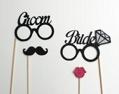 Bride Glasses with Beautiful Glitter Diamond & Glitter Groom Photo Booth Props