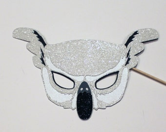 Beautiful Glitter Snow Owl Mask Photo Booth Prop