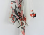 Abstract red and black silk hand painted scarf. Abstract scarf. Red black white silk scarf.Ready to ship!