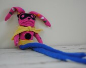 Pink Polkadot Superhero Bunny, Sock Animal, Hand Stitched, Made from all Reclaimed Clothing