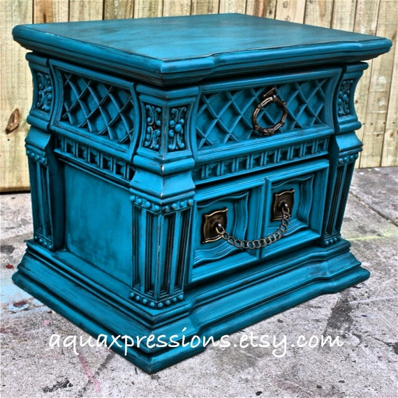 Gypsy Teal Night Stand End Table Accent Table By