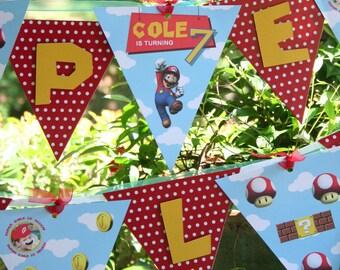 Super Mario Birthday Party | Super Mario Birthday | Super Mario Party Banner Garland | Super Mario Birthday Party Decorations | LuluCole