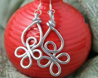 Aluminum, lightweight, celtic knot silver earrings