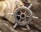 2 pcs - findings - supplies - supply  - jewelry supplies -  leather finding - ship wheel - ship wheel pendant - ship wheel charm