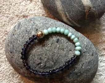 Larimar Iolite Blue Beaded Bracelet Gemstone Bracelet Friendship Bracelet AAA Quality Beads