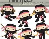 Ninja Clip Art -Personal and Limited Commercial- Cute Girl Ninjas Clipart