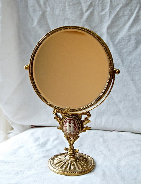 Vintage Gilt Makeup Mirror With A Cameo Double Sided