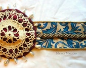 OOAK Sash Belt with Beaded Lace Medallion - Handmade Belt with Vintage Lace in Teal, Gold, Black, Scarlet, Ivory