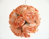 Peach Wedding Pomander made from vintage orange/peach paper roses Wedding Decorations Photo Prop