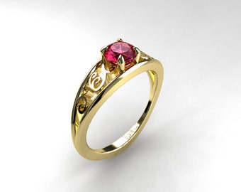 Pink sapphire ring, filigree engagement ring, solitaire, white gold, yellow gold, pink engagement, sapphire wedding