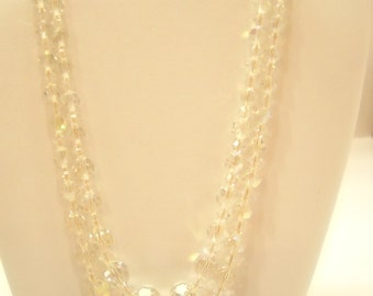 Vintage AUSTRIAN CRYSTAL DOUBLE Strand Necklace--Japan (2978)