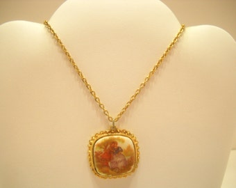 Vintage Milk Glass Pendant Necklace---Rococo Scene, Lovers In Park (3735)