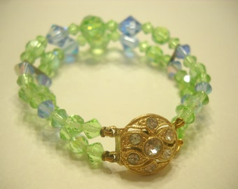 Gorgeous GREEN & BLUE CRYSTAL Bracelet (7878) Double Strands