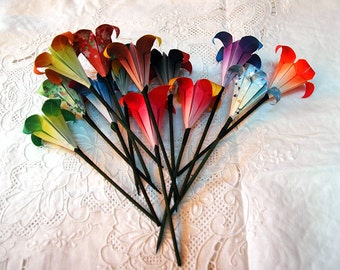 Origami Lily Flower On Stem - Assorted Colors/Patterns Your Choice - Party Decoration or Favor