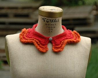 Hand Knit Red And Orange Collar With Czech Glass Button - Ready To Ship