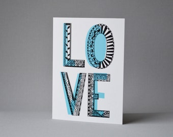 Love Letters Card. Typographic love card, valentines card, anniversary card or wedding day card