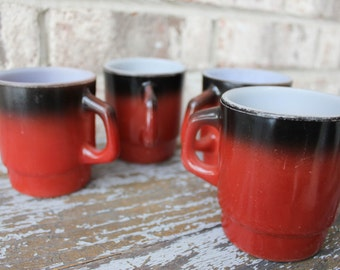 SALE // Set of 4 vintage FIRE KING red and black ombre coffee cup mugs