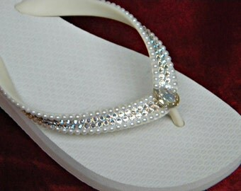 Custom Crystal Pearl Wedding Flip Flops w/ Swarovski Ivory Moonlight River Beach Bridal Bling Havaianas flat or Cariris Wedge Heel Shoes