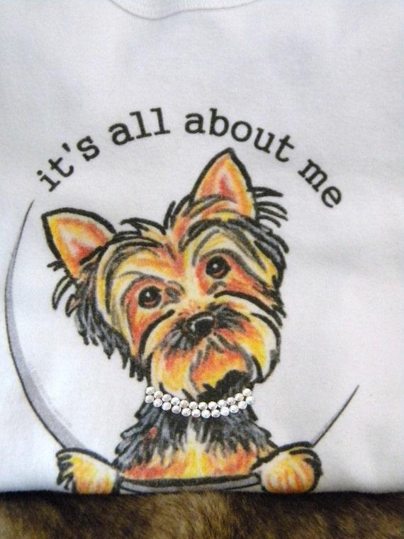 Girls youth size 6 Custom w/ Swarovski Crystal Rhinestone Yorkie Terrier Puppy Dog White Short Sleeve Bling Gift T Shirt Childrens Clothing