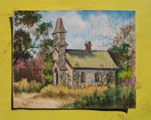 Lovely Vintage Watercolor of Midwestern Church Original Signed Watercolor Painting