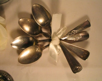 Mixed Lot of 4 Antique Silver Plate  Spoons Assorted Patterns SIlverware Shabby Chic Decor Wedding Silverware Gorham Silverplate