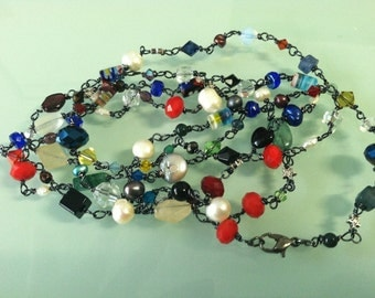Extra Extra Extra - Extra Long, Extra Colorful, and Extra Beautiful Multi Stone Wire Wrapped