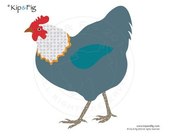 Hen applique template - PDF applique pattern