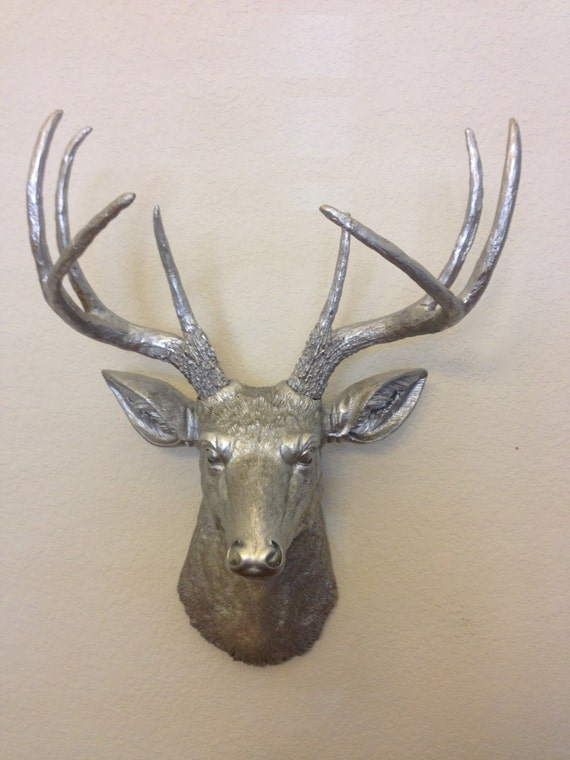 Faux Deer Head Hunting Trophy With Antlers Silver Taxidermy