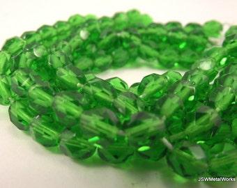 Green Faceted Czech Fire Polish Glass Beads, 5mm, 150 beads
