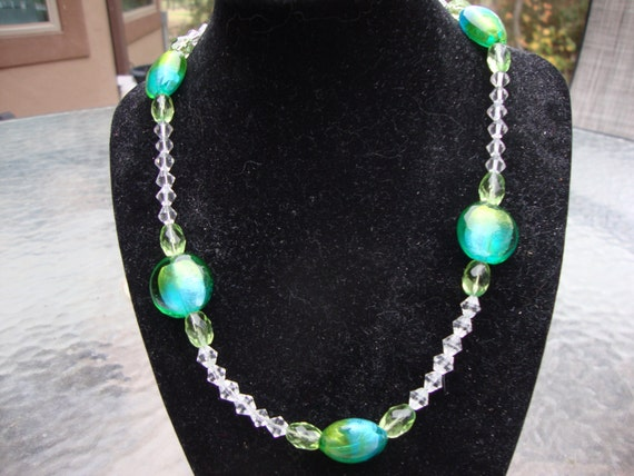 Green and Blue Glass Beaded Necklace