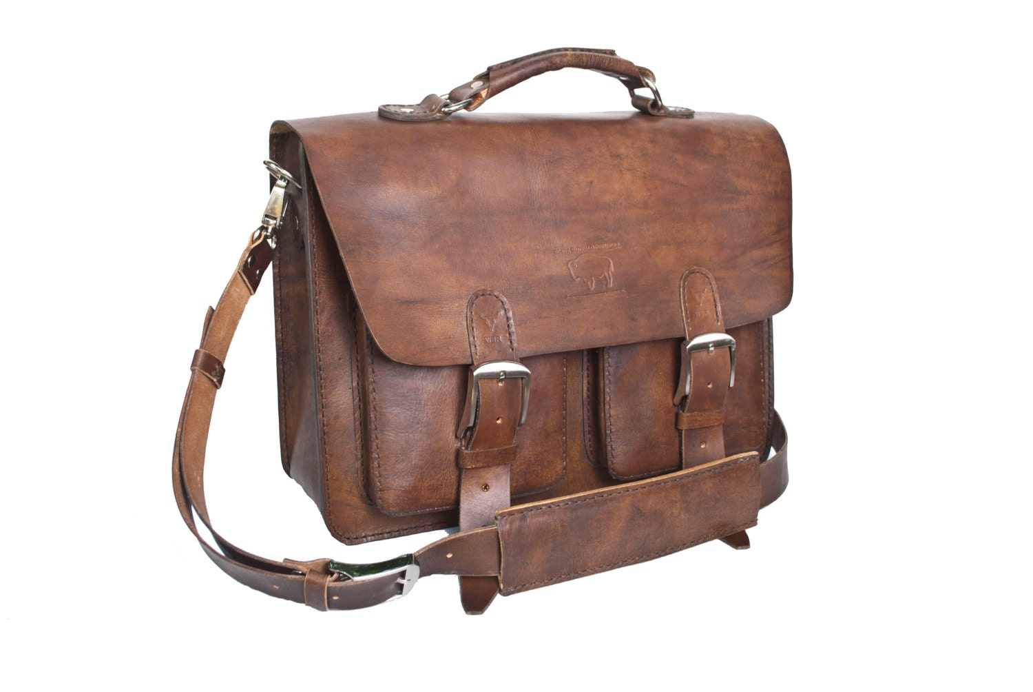 Rustic Brown Leather Messenger Bag Men's Women's