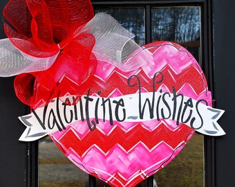 Valentine Heart Door Hanger, Be Mine Valentine, Valentines Day Door Decor, Chevron Valentine Decor