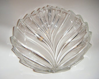 Gorgeous  Extra Big Fantail Pattern Frosted Crystal and Clear Crystal Bowl