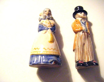 Rare Antique L. Hjorth Pottery Denmark Male and Female Figurines From Roene On Bornholm