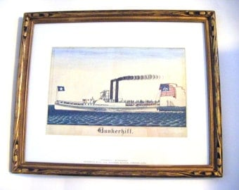 1838 Frederick Huge Steamboat Bunkerhill Mariners Museum Newport News Framed Lithograph Litho