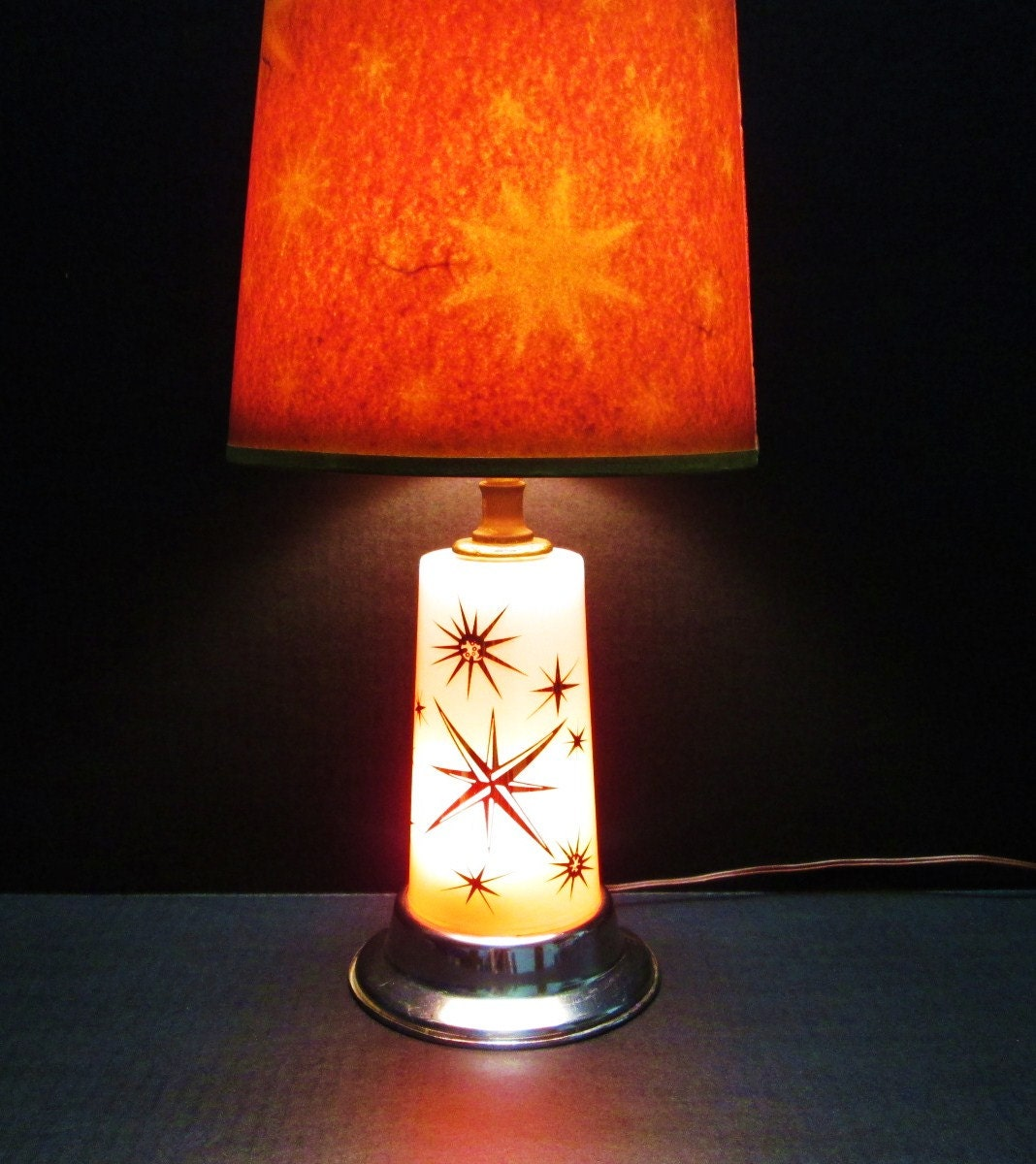 Retro Mid Century Atomic Lamp Lighted Starburst Base