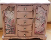 Shabby Chic Soft Pink, Pearl Vintage Jewelry Box Armoire
