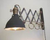 Scissor Lamp - Industrial Articulating Wall Lamp Light - Antiqued Patina - Adjustable Accordion lamp - Dark Gray Shop Shade