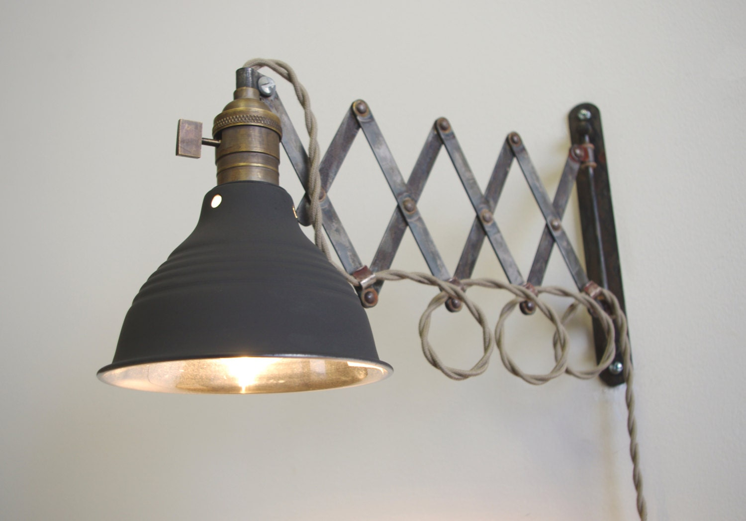 Wall Mounted Industrial Lamp : Industrial Scissor Articulating Wall Lamp Light by LongMadeCo