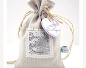 Lavender sachet. Lavender Bag. Scented sachet. Pure linen. Pure lavender. Lavender seeds. Clay heart. Original and unique design.